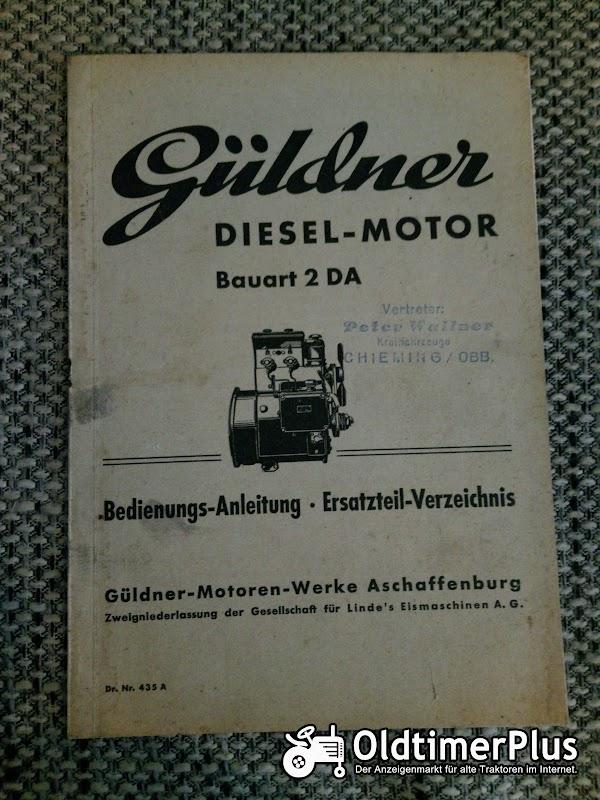 Güldner 2 DA Dieselmotor Bedienungsleitung Ersatzteilverzeichnis Foto 1