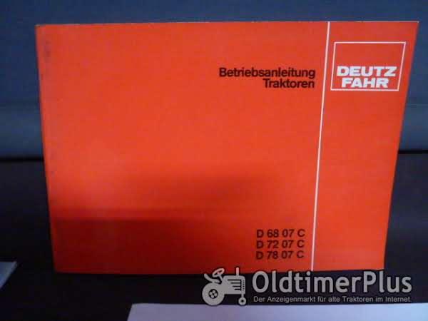 Deutz Betriebsanleitung  6807,7207,7807 Foto 1