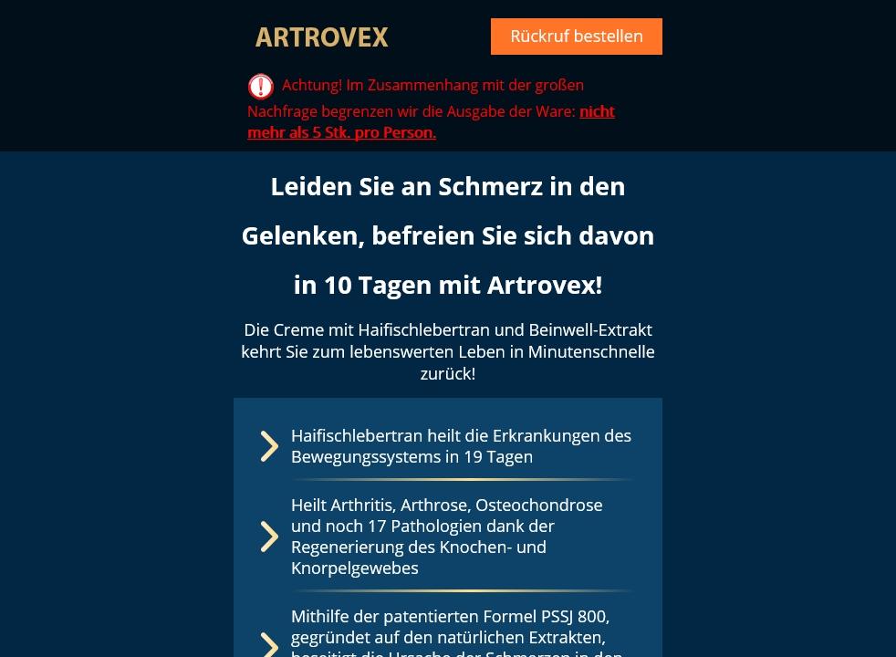 Wo kann man Artrovex kaufen?