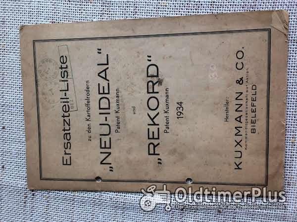 Ersatzteilliste kartoffelroder: 'Neu-ideal'und 'Rekord' 1934 kuxmann Foto 1