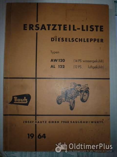 Ersatzteilliste Bautz Dieselschlepper AW 120, AL122 Foto 1