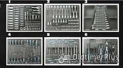 Sonstige 6 Schaumstoffeinlagen mit Werkzeug wie Bilder Neuware OVP