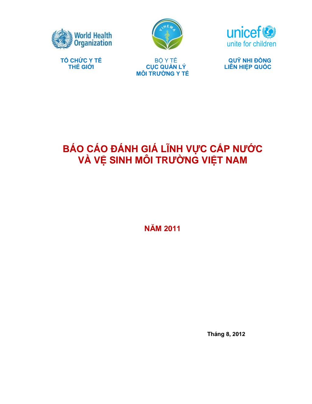 Báo cáo đánh giá lĩnh vực cấp nước và vệ sinh môi trường Việt Nam