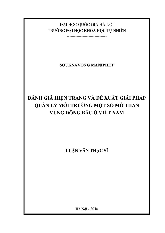 Luận văn Thạc sĩ Khoa học Môi trường: Đánh giá hiện trạng và giải pháp quản lý môi trường tại một số mỏ than ở vùng Đông Bắc Việt Nam