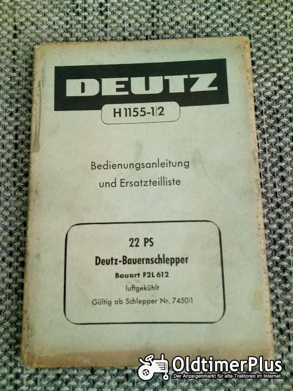 Deutz F2L612 Bedienungsanleitung Ersatzteilliste Foto 1