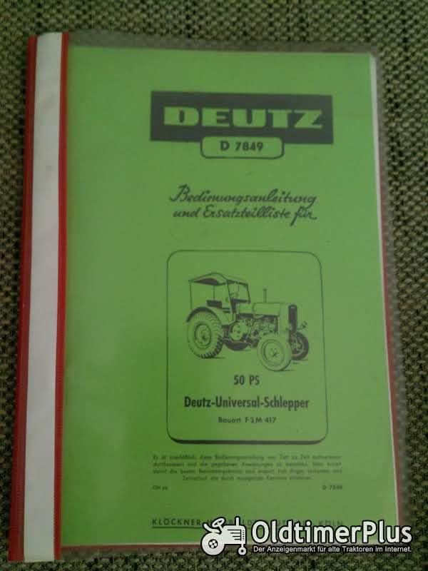 Deutz F3M417 Bedienungsanleitung Ersatzteilliste Foto 1