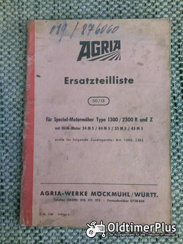 Agria 1300 / 2300 R und Z Motormäher Ersatzteilliste Foto 1