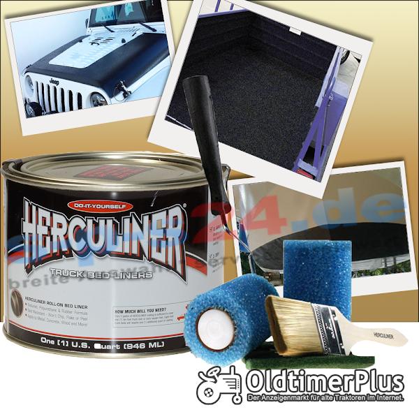 mini Herculiner Beschichtung für Nutzfahrzeuge Traktoren Oldtimer Landtechnik schwarz 0,9 Liter | Pinsel set Foto 1