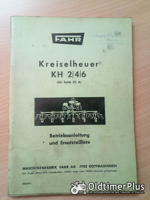 Fahr Kreiselheuer KH 2 | 4 | 6 Betriebsanleitung und Ersatzteilliste Foto 1