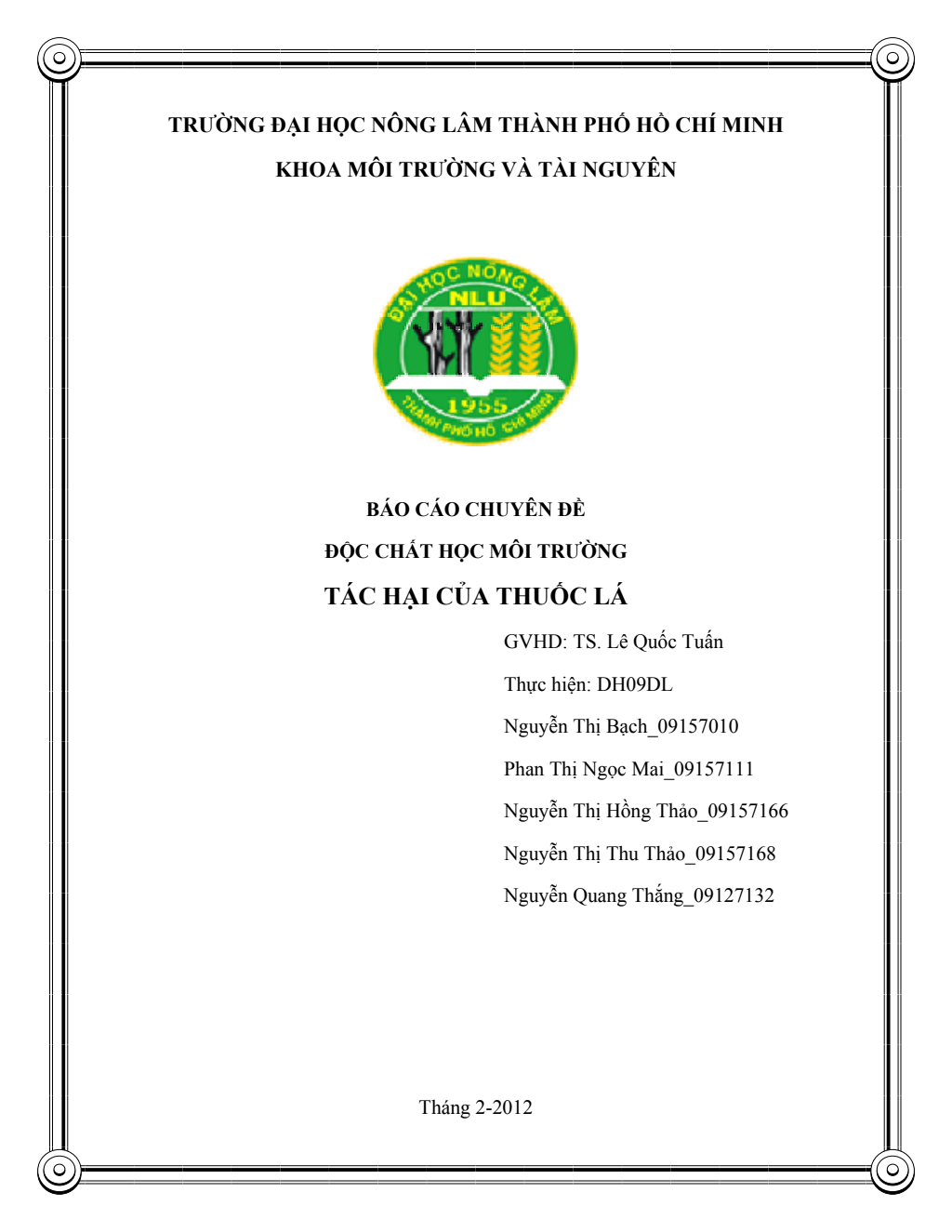 Báo cáo chuyên đề Độc chất học môi trường: Tác hại của thuốc lá