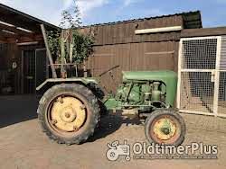 Holder Traktor Holder B 10, Baujahr 1956 mit Pflügen und Eggen