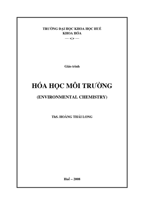 Giáo trình hóa học môi trường ( environmental chemistry)