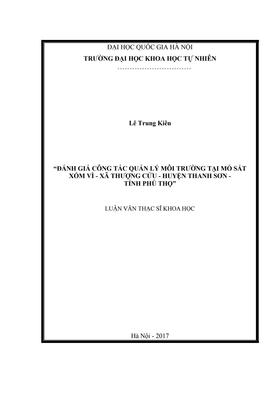 Luận văn Thạc sĩ Khoa học: Đánh giá công tác quản lý môi trường tại mỏ sắt Xóm Vì - xã Thượng Cửu - huyện Thanh Sơn - tỉnh Phú Thọ