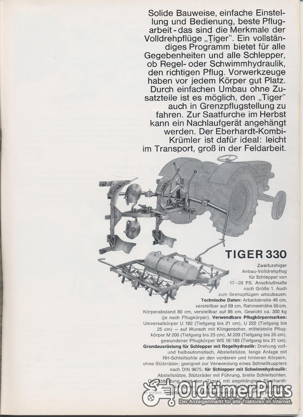 Unterlagen Pflug Eberhardt Tiger 330 Foto 1