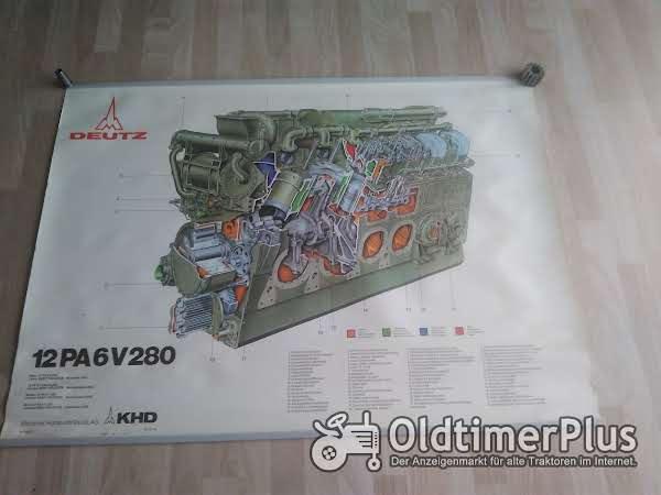 Deutz 12 PA 6V 280 Lehrtafel Plakat Poster Schnittbild Foto 1