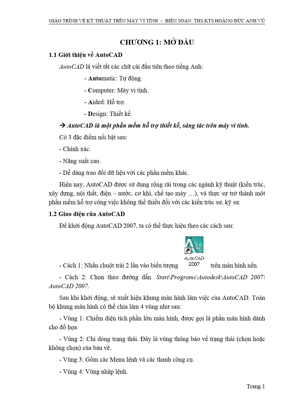 GIÁO TRÌNH VẼ KỸ THUẬT TRÊN MÁY VI TÍNH – BIÊN SOẠN: THS.KTS.HOÀNG ĐỨC ANH VŨ
