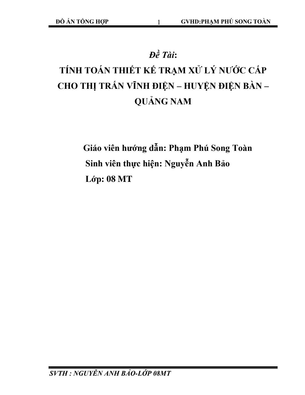 Tính toán thiết kế trạm xử lý nước cấp cho thị trấn Vĩnh Điện – Huyện Điện Bàn – Quảng Nam