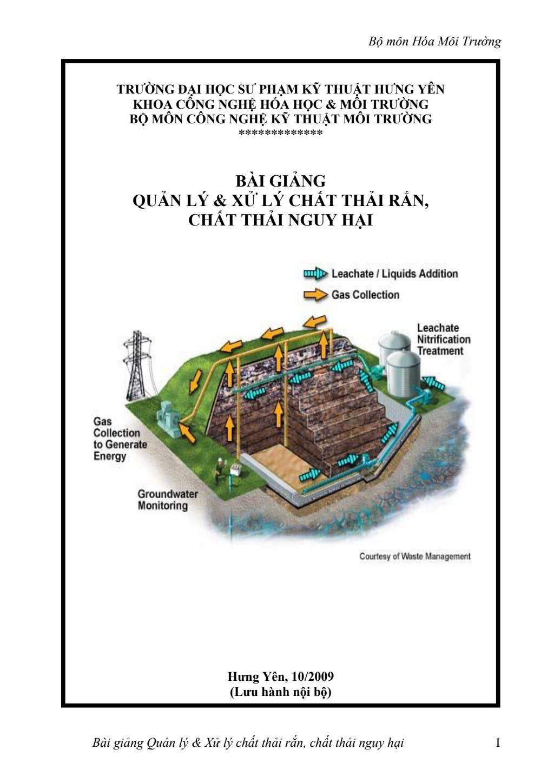 Bài giảng Quản lý và xử lý chất thải rắn, chất thải nguy hại - ĐH Sư phạm Kỹ thuật Hưng Yên