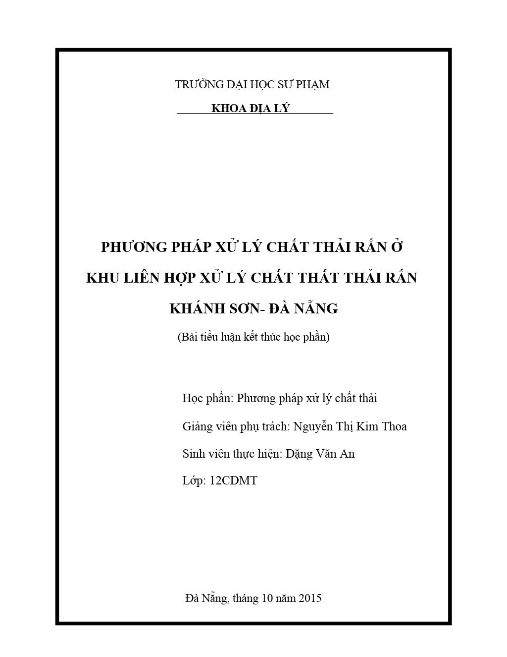 Bài tiểu luận: Phương pháp xử lý chất thải rắn ở khu liên hợp xử lý chất thất thải rắn Khánh Sơn - Đà Nẵng