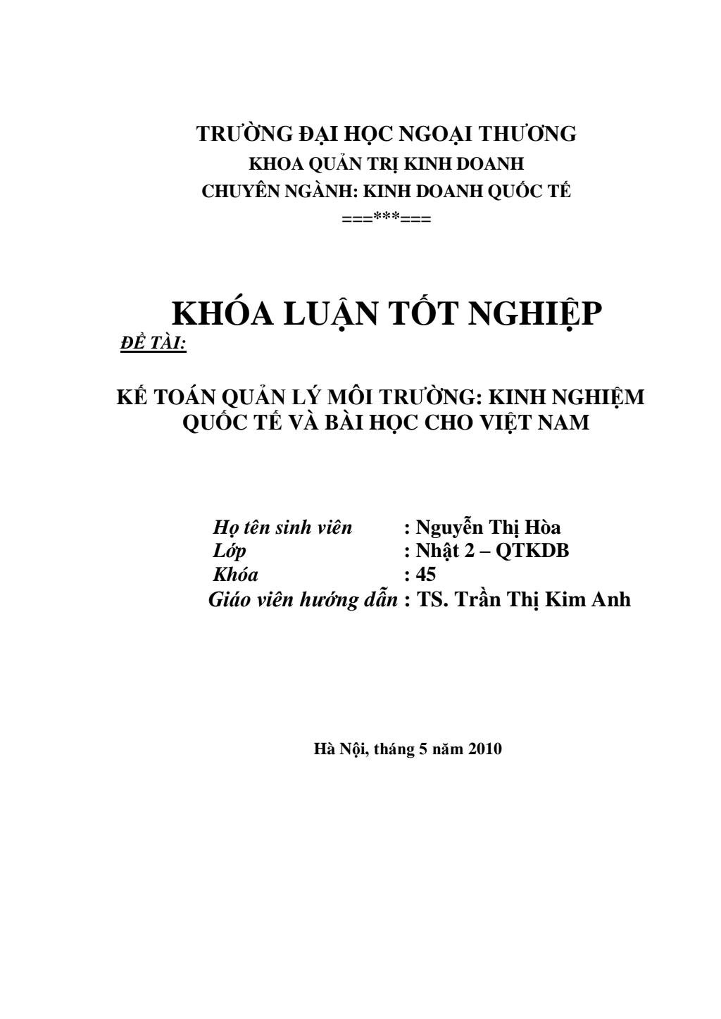 Khóa luận tốt nghiệp: Kế hoạch quản lý môi trường: Kinh nghiệm quốc tế và bài học Việt Nam