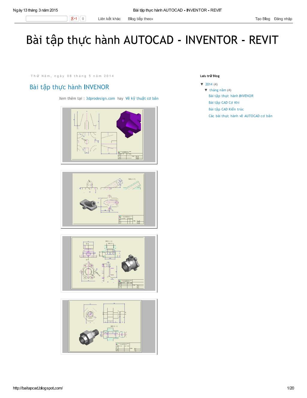 Bài tập thực hành AUTOCAD - INVENTOR - REVIT