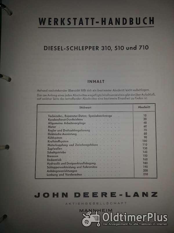 John Deere LANZ 310 510 710 Werkstatthandbuch Foto 1