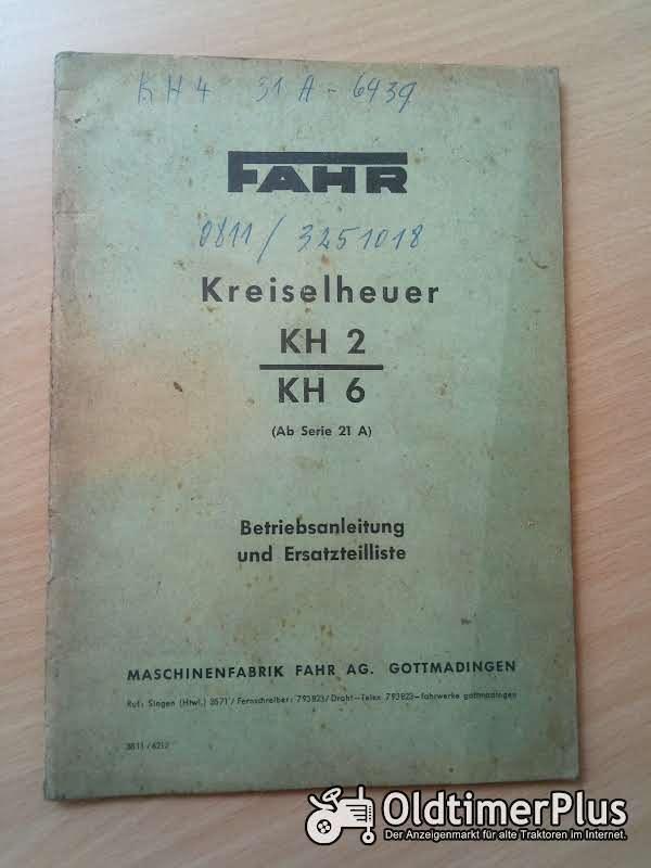 Fahr Kreiselheuer KH 2 | 6 Betriebsanleitung und Ersatzteilliste Foto 1