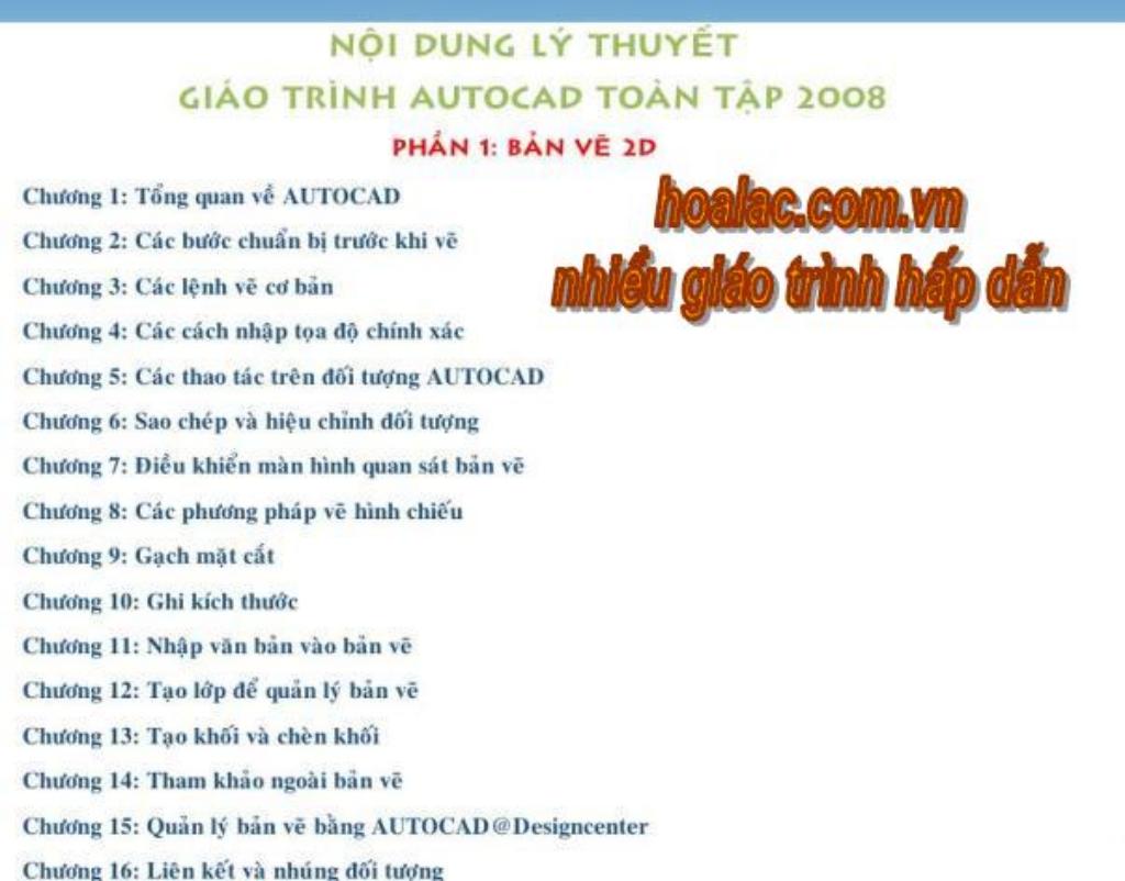 Nội dung lý thuyết Giáo tình AutoCad toàn tập 2008