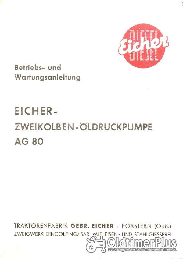 Eicher Zweikolben-Öldruckpumpe AG 80 Betriebs- und Wartungsanleitung PDF Foto 1