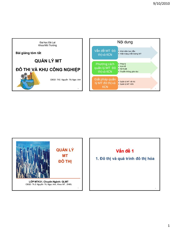 Bài giảng Quản lý môi trường đô thị và khu công nghiệp - ThS. Nguyễn Thị Ngọc Anh