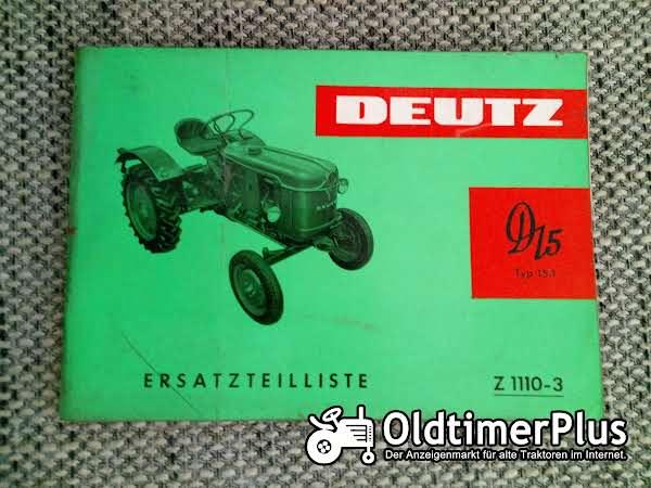 Deutz D15 Ersatzteilliste Z 1110-3 Foto 1