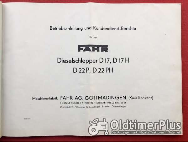 Betriebsanleitung für FAHR-Traktoren D17 und D22 Foto 1