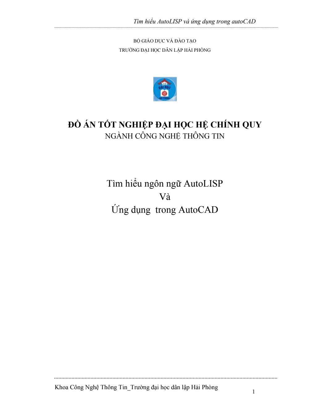 Đồ án tốt nghiệp Tìm hiểu AutoLISP và ứng dụng trong autoCAD