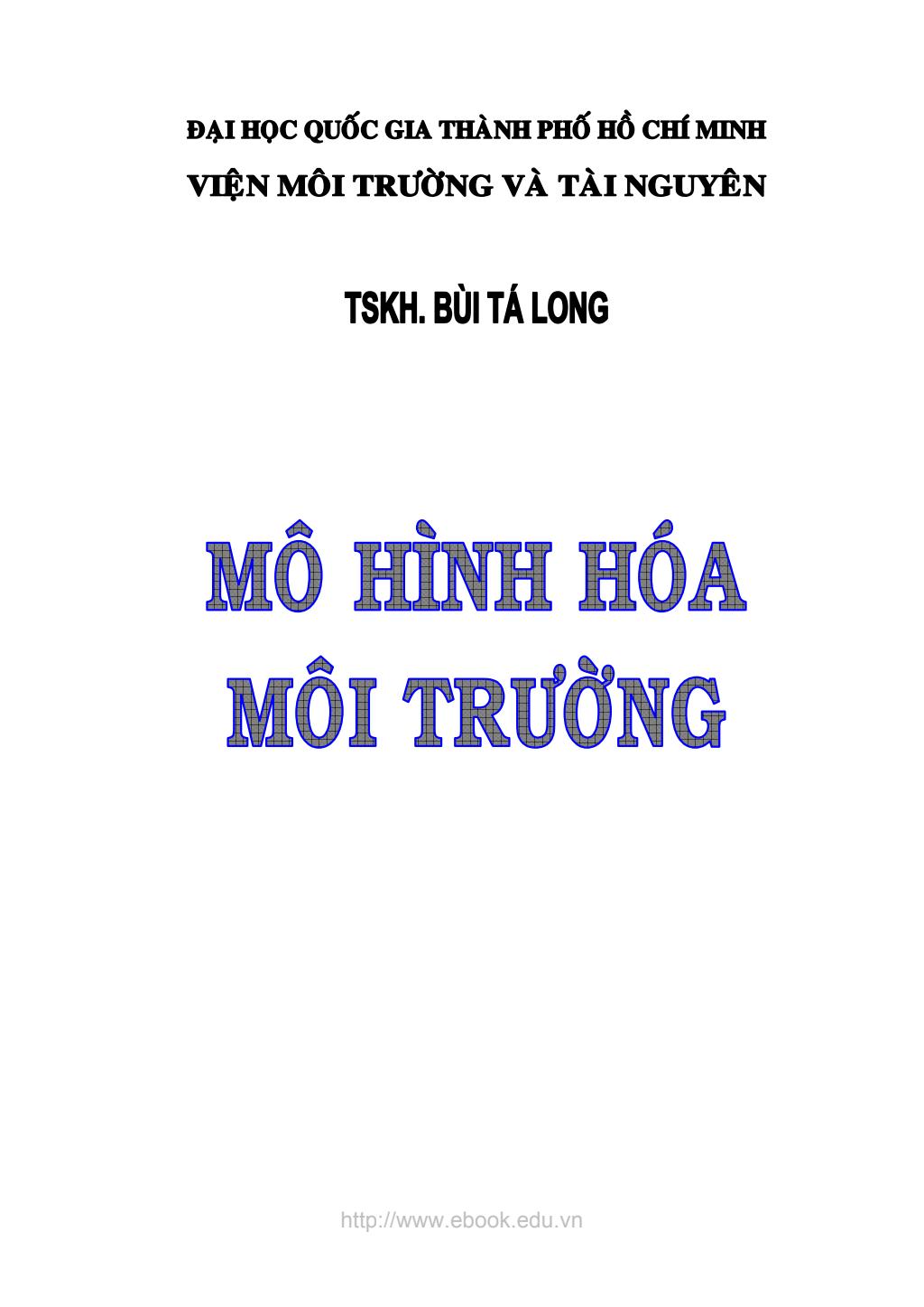 Chia sẻ giáo trình Mô hình hóa môi trường - TSKH: Bùi Tá Long
