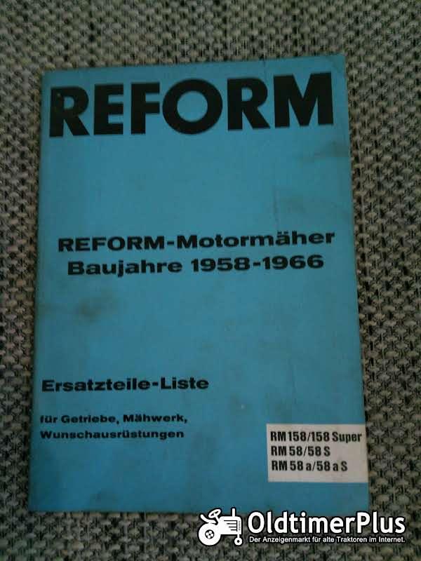 Reform Motormäher RM 158 RM 58 Ersatzteilliste Foto 1