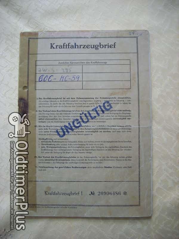 Originaler Oldtimer Kraftfahrzeug Pappbrief Deutz D25.2 Foto 1