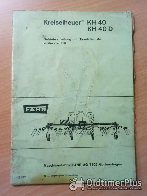 Fahr Kreiselheuer KH 40 Betriebsanleitung und Ersatzteilliste Foto 1