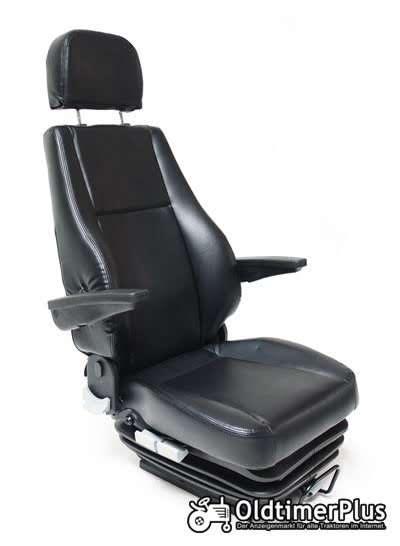 deluxe luftgefedert Traktorsitz beastbar max bis 160 kg, Schwarzes Kunstleder Foto 1