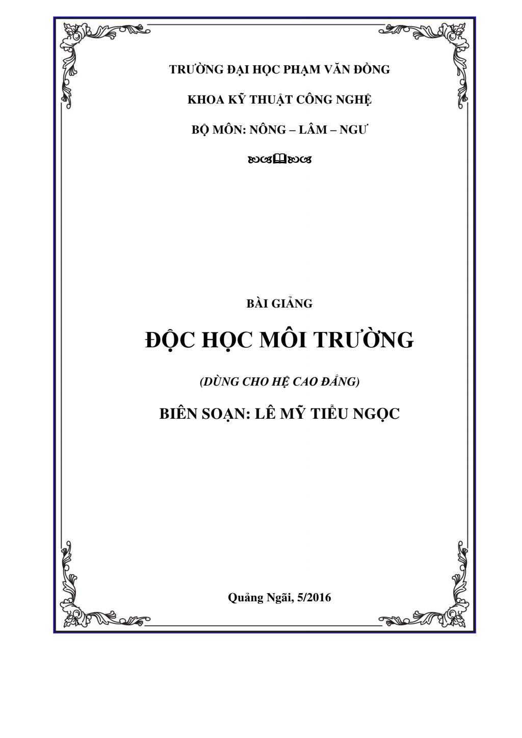 Bài giảng Độc học môi trường - ĐH Phạm Văn Đồng
