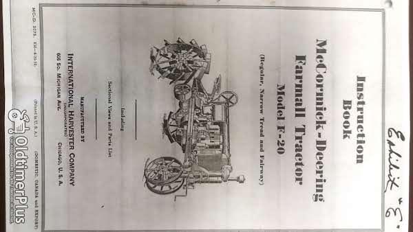 Mc Cormick – Deering Typ F 20 Handbuch Foto 1