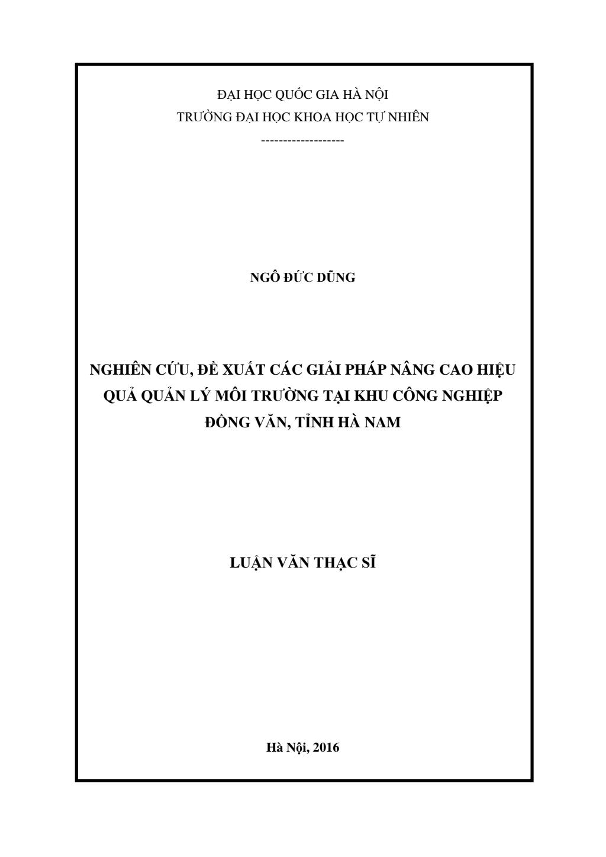 Luận văn Thạc sĩ Khoa học Môi trường: Nghiên cứu, đề xuất các giải pháp nâng cao hiệu quả quản lý môi trường tại khu công nghiệp Đồng Văn, tỉnh Hà Nam