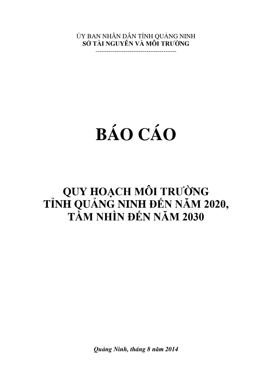Báo cáo Quy hoạch môi trường tỉnh Quảng Ninh đến năm 2020, tầm nhìn đến năm 2030