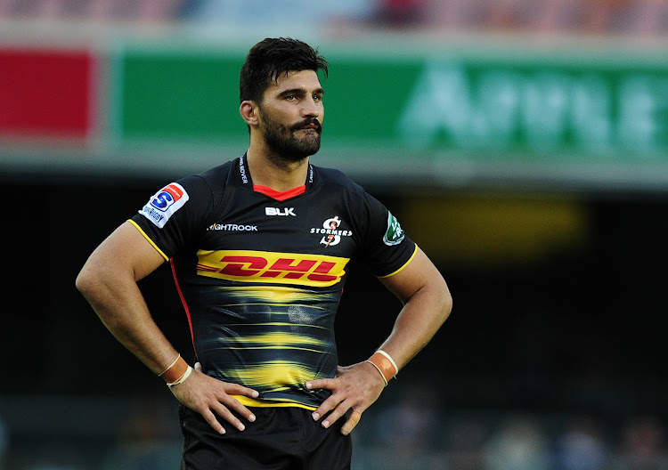 Damian de Allende of the Stormers reacts during the Super Rugby game against the Lions at Newlands Stadium in Cape Town on February 23 2019.