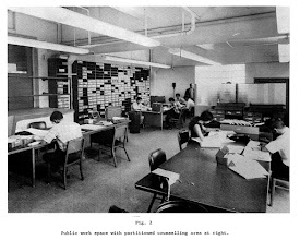 Photo: Public work area, Computing Center, North University Building, Main Campus, University of Michigan, Ann Arbor, c. 1969