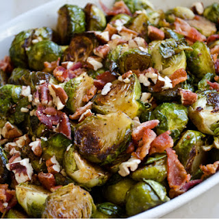 Roasted Brussels Sprouts with Bacon, Pecans, and Maple-Balsamic Vinaigrette Recipe