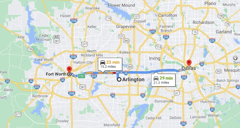 Map of Fort Worth, Arlington, and Dallas, TX.