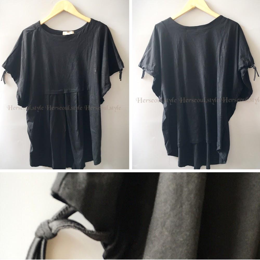 🈹黑色索袖top