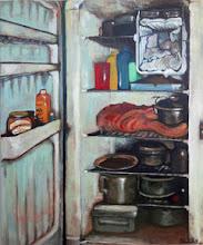 Photo: 冷蔵庫 / canvasF20, acryl, 2005  錆びた金属、食べ残した食材、料理  かつては新品の冷蔵庫だったのかもしれない 愉しい賑やかな食卓があったかもしれない でも、今は違う。  私はその記憶を持った、使い古され、ボロボロになった姿を描きたい。  記憶を留めた、心のある静物画、 そういうものを描きたい。