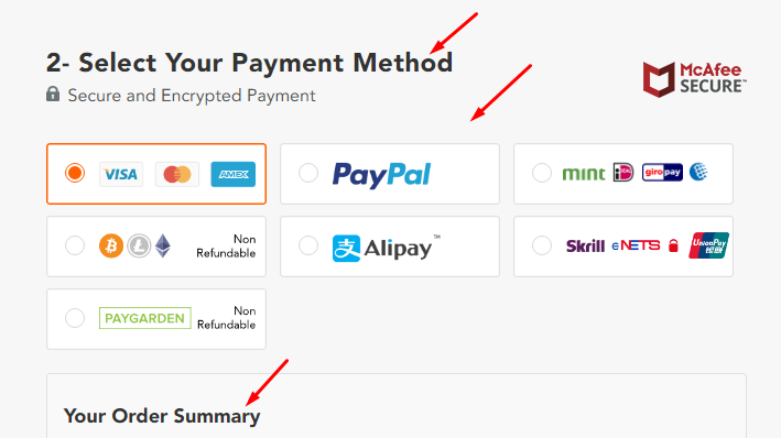 Selecting Payment Method