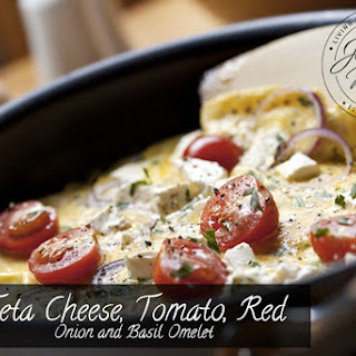 Feta Cheese, Tomato, Red Onion and Basil Omelet.